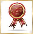 Premium quality red and gold label vector image vector image
