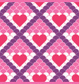 red hearts and fish scale seamless pattern vector image