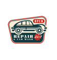 repair and car wash logo open 24 7 auto service vector image vector image