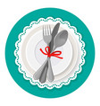 served dinner plate with cutlery spoon fork and vector image vector image
