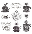 set of coffee quotes hand-drawn lettering vector image vector image
