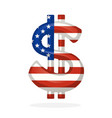 sign dollar in flag colors two vertical lines vector image vector image