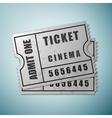 Silver cinema ticket icon isolated on blue vector image vector image