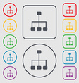 social network icon sign symbol on the Round and vector image