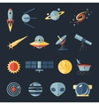 Space flat icons set vector image vector image