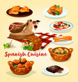 spanish cuisine national dishes poster vector image vector image