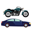 sport car and motorbike vehicle transport vector image