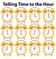 telling time to the hour on yellow clock vector image vector image