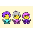 Three happy cartoon style old ladies doing yoga vector image vector image