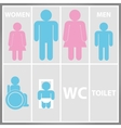 toilet sign with toilet men and women wc vector image vector image