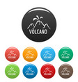 volcano eruption icons set color vector image