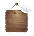 Wooden Sing With Cook Cap vector image vector image