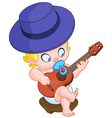 Baby playing guitar vector image vector image