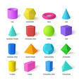 basic stereometry shapes realistic color set vector image