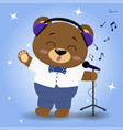 bear is a brown singer in blue headphones a bow vector image vector image