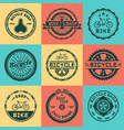 bicycle shop set colored round badges vector image vector image