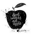 Black and white of isolated apple silhouette vector image vector image