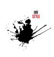 black blot on white background in ink style vector image vector image
