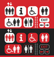black white and red public access icons set vector image vector image