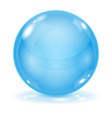 blue glass ball 3d shiny sphere isolated on white vector image vector image