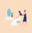 bridesmaid hairdresser or stylist combing brides vector image