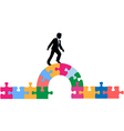 Business person puzzle bridge to solution vector image vector image