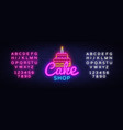 cake shop neon sign sweets shop design vector image vector image
