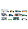 camping car set travel car icons isolated rv vector image