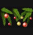 christmas fir branches - set of modern vector image