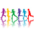Colorful silhouettes of children running vector image vector image