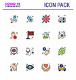 coronavirus awareness icon 16 flat color filled vector image vector image