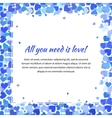 Cute template with many blue hearts square vector image vector image