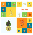 diwali indian festival icons vector image vector image