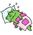 dragon sleeping in bed vector image