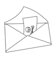 E-mail with virus icon in outline style isolated vector image vector image