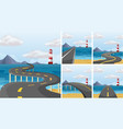 five scenes of road across the ocean vector image vector image