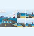five scenes of road across the ocean vector image vector image
