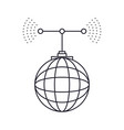 global grid map with antenna monochrome silhouette vector image