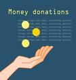 Hand with coins for charity on a dark background vector image