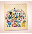 Happy Birthday cute kittens note paper cartoon vector image vector image