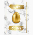 happy easter luxury greeting card on white marble vector image vector image
