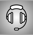 headphones with micro icon headphones coffe vector image vector image