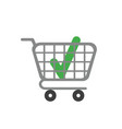 icon concept of check mark inside shopping cart vector image vector image