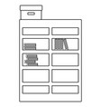 line bookcase with books inside and box archive vector image