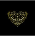 luxury ornate heart floral gold design vector image