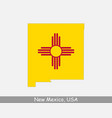 new mexico usa map flag vector image vector image