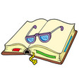 open book with glasses vector image vector image