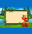 parrot on bamboo frame vector image