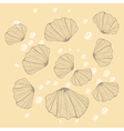 Seashell with pearl on beige background vector image
