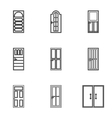 Security doors icons set outline style vector image vector image